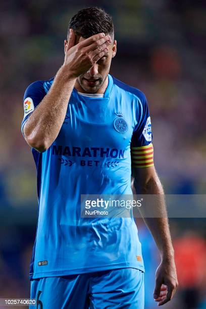 Alex Granell Nogue of Girona FC reacts during the La Liga match between Villarreal CF and Girona FC at Estadio de la Ceramica on August 31 2018 in...