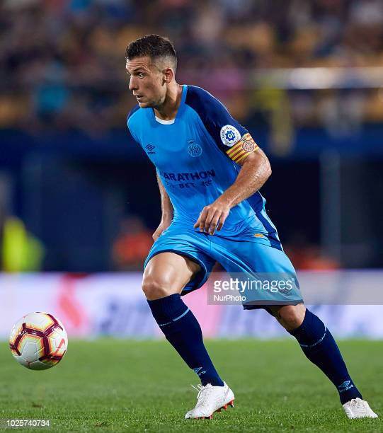 Alex Granell Nogue of Girona FC with the ball during the La Liga match between Villarreal CF and Girona FC at Estadio de la Ceramica on August 31...