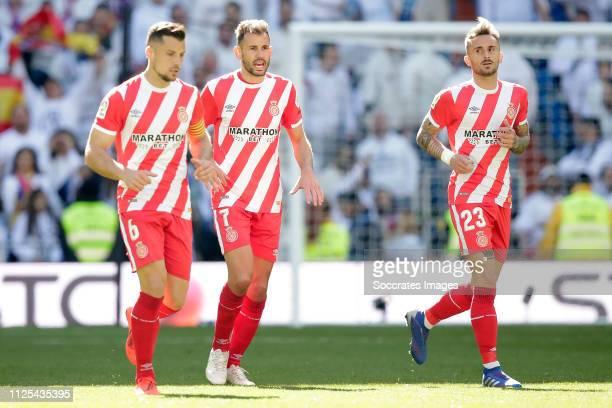 Alex Granell of Girona Cristhian Stuani of Girona Aleix Garcia of Girona celebrate goal during the La Liga Santander match between Real Madrid v...