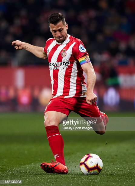 Alex Granell of Girona FC kicks the ball during the La Liga match between Girona FC and Real Sociedad at Montilivi Stadium on February 25 2019 in...