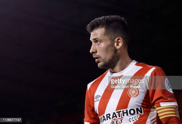 Alex Granell of Girona FC looks on during the Copa del Rey second leg Quarter Final match between Girona FC and Real Madrid at Montilivi Stadium on...