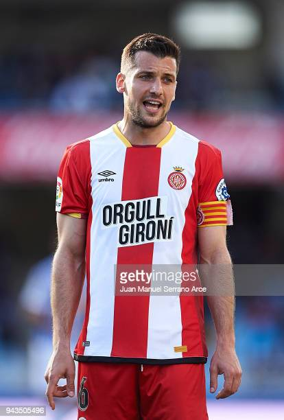 Alex Granell of Girona FC reacts during the La Liga match between Real Sociedad de Futbol and Girona FC at Estadio Anoeta on April 8 2018 in San...