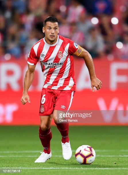 Alex Granell of Girona FC runs with the ball during the La Liga match between Girona FC and Real Valladolid CF at Montilivi Stadium on August 17 2018...
