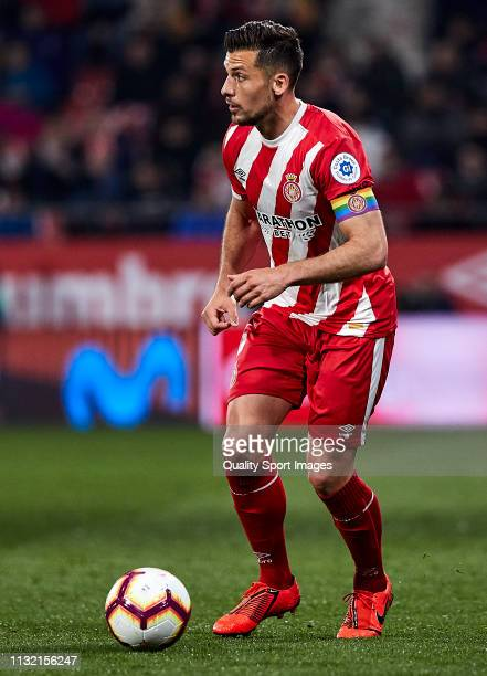 Alex Granell of Girona FC with the ball during the La Liga match between Girona FC and Real Sociedad at Montilivi Stadium on February 25 2019 in...