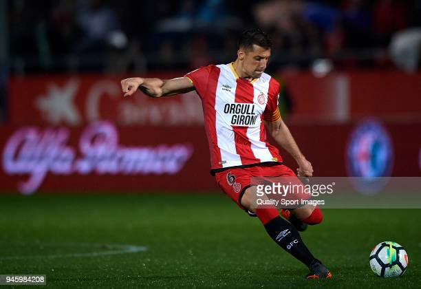 Alex Granell of Girona in action during the La Liga match between Girona and Real Betis at Estadi Montilivi on April 13 2018 in Girona Spain