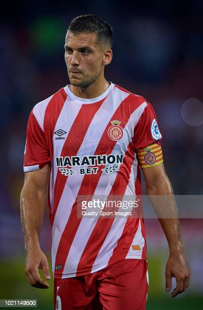 Alex Granell of Girona reacts during the La Liga match between Girona FC and Real Valladolid CF at Montilivi Stadium on August 17 2018 in Girona Spain