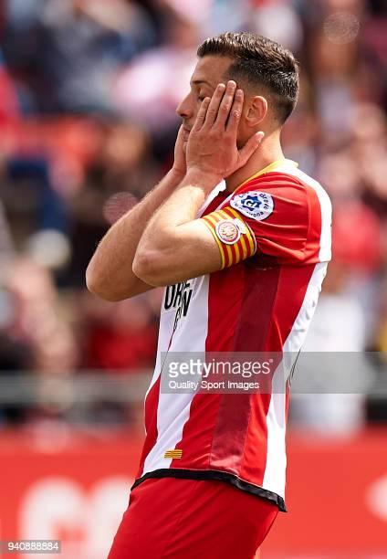Alex Granell of Girona reacts during the La Liga match between Girona and Levante at Estadio Montilivi on March 31 2018 in Girona Spain
