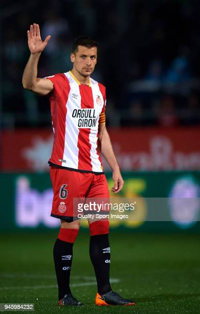 Alex Granell of Girona reacts during the La Liga match between Girona and Real Betis at Estadi Montilivi on April 13 2018 in Girona Spain