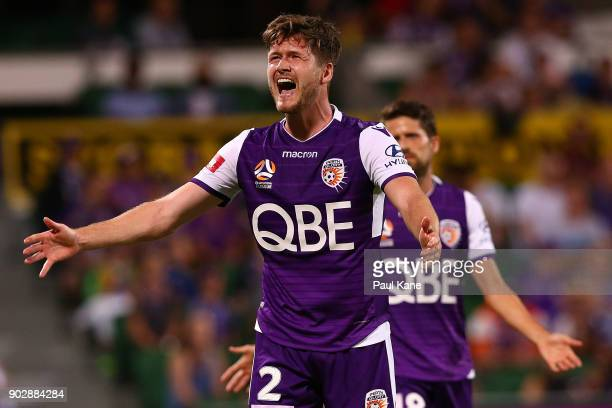 Alex Grant of the Glory remonstrates with referee Matt Gillett after a penalty kick was awarded to Melbourne City during the round 15 ALeague match...