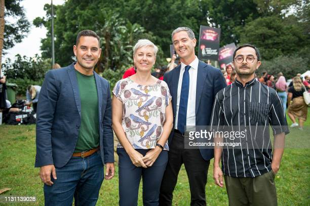 Alex Greenwich MP Cate Faehrmann MLC John Graham MLC and Tyson Koh pose for a photo during the Don't Kill Live Music Rally at Hyde Park on February...