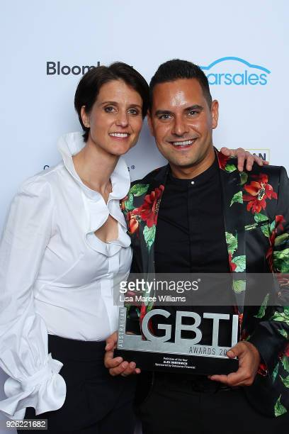 Alex Greenwich poses with the Politician Award and Heather Peace in the media room during the Australian LGBTI Awards at The Star on March 2 2018 in...