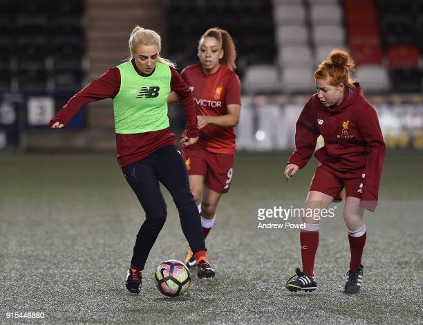 Alex Greenwood and Martha Harris of Liverpool Ladies warming up before the Women's Super League match between Liverpool Ladies and Arsenal Women at...