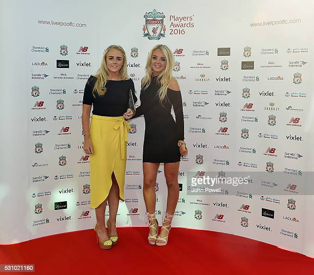 Alex Greenwood and Mollie Green of Liverpool Ladies arrive at the Liverpool FC End of Season Awards at The Exhibition Centre on May 12 2016 in...