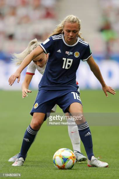Alex Greenwood of England battles for possession with Claire Emslie of Scotland during the 2019 FIFA Women's World Cup France group D match between...