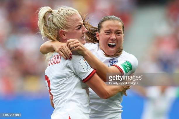 Alex Greenwood of England celebrates after scoring her team's third goal with her teammate Fran Kirby during the 2019 FIFA Women's World Cup France...