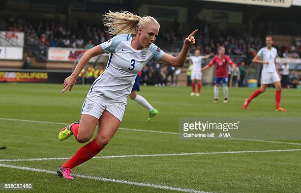 Alex Greenwood of England celebrates after she scores a goal to make it 10 during the UEFA Women's European Championship Qualifier match between...