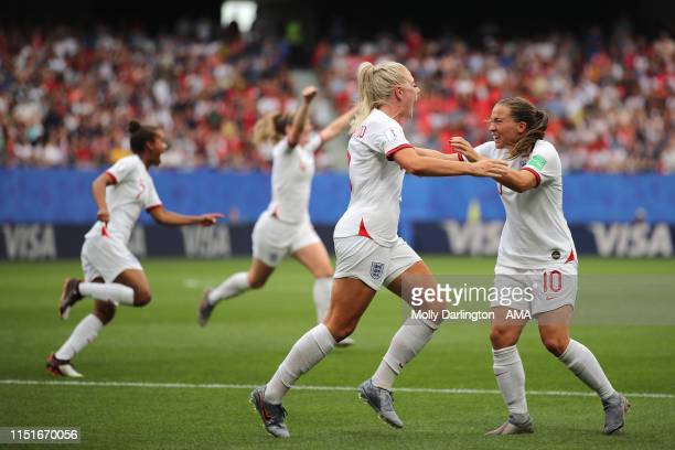 Alex Greenwood of England celebrates with Fran Kirby of England after scoring a goal to make it 30 during the 2019 FIFA Women's World Cup France...