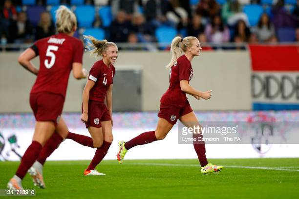 Alex Greenwood of England celebrates with Leah Williamson after scoring their side's fourth goal during the FIFA Women's World Cup 2023 Qualifier...