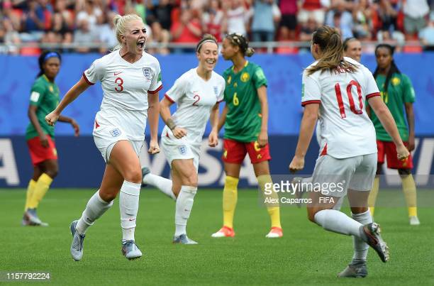 Alex Greenwood of England celebrates with teammate Fran Kirby after scoring her team's third goal during the 2019 FIFA Women's World Cup France Round...