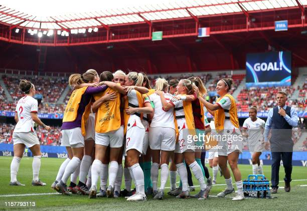Alex Greenwood of England celebrates with teammates after scoring her team's third goal during the 2019 FIFA Women's World Cup France Round Of 16...