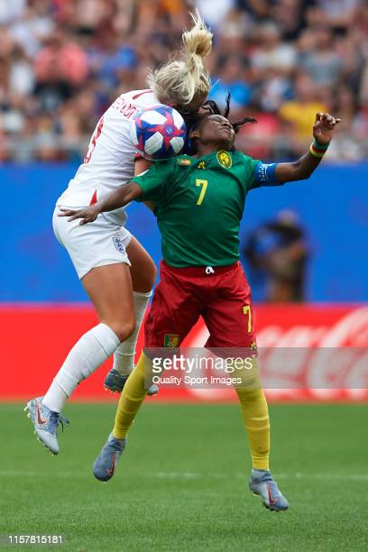 Alex Greenwood of England competes for the ball with Gabrielle Aboudi of Cameroon during the 2019 FIFA Women's World Cup France Round Of 16 match...