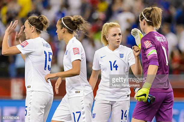 Alex Greenwood of England congratulates goalkeeper and teammate Karen Bardsley during the 2015 FIFA Women's World Cup Group F match against Colombia...