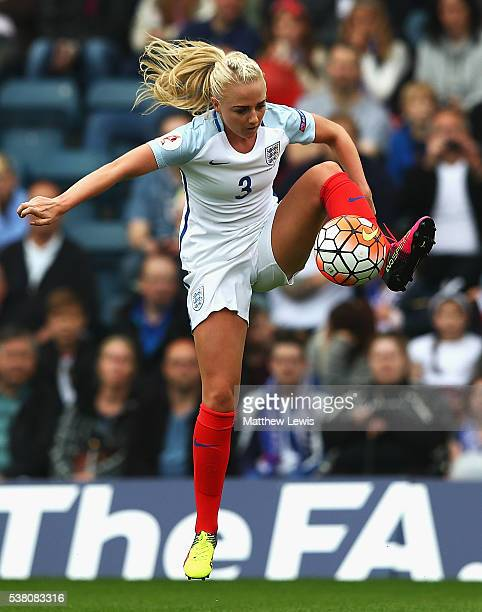 Alex Greenwood of England in action during a UEFA Women's European Championship Qualifier match between England and Serbia at Adams Park on June 4...