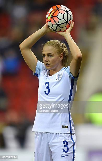 Alex Greenwood of England in action during the UEFA Women's European Qualifer between England and Belgium at The New York Stadium on April 8 2016 in...