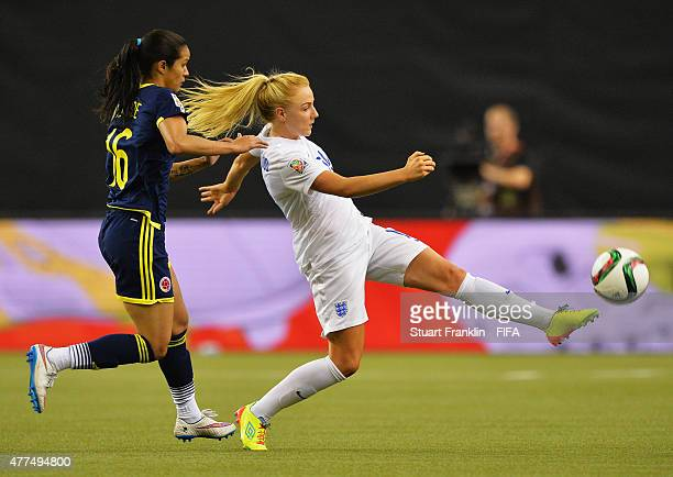 Alex Greenwood of England is challenged by Lady Andrade of Colombia during the FIFA Womens's World Cup Group F match between England and Colombia at...
