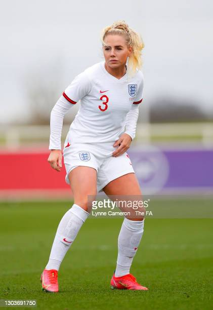 Alex Greenwood of England looks on during the Women's International Friendly match between England and Northern Ireland at St George's Park on...