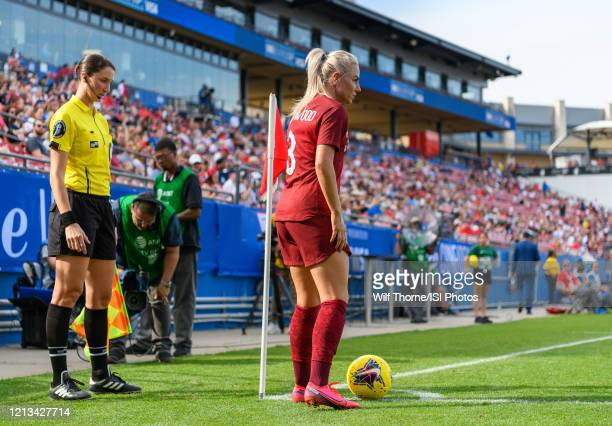 Alex Greenwood of England prepares to take a corner kick during a game between England and Spain at Toyota Stadium on March 11, 2020 in Frisco, Texas.