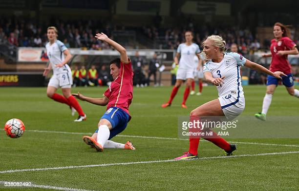 Alex Greenwood of England scores a goal to make it 10 during the UEFA Women's European Championship Qualifier match between England and Serbia at...