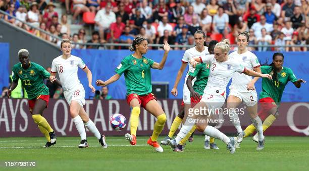 Alex Greenwood of England scores her team's third goal during the 2019 FIFA Women's World Cup France Round Of 16 match between England and Cameroon...