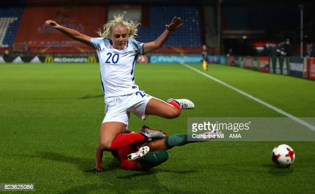 Alex Greenwood of England Women jumps over Ana Borges of Portugal Women during the UEFA Women's Euro 2017 match between Portugal and England at...