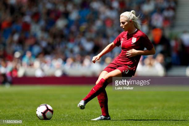 Alex Greenwood of England Women passes the ball during the International Friendly between England Women and New Zealand Women at Amex Stadium on June...