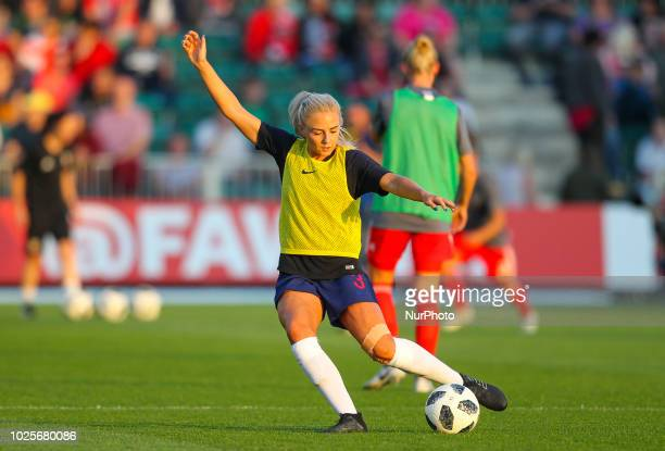 Alex Greenwood of England Women warms up during 2019 FIFA Women's World Cup Group 1 qualifier between Wales Women and England Women at Rodney Parade...