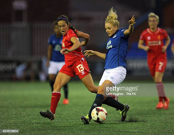 Alex Greenwood of Everton Ladies FC and Amanda De Costa of Liverpool Ladies FC battle for the ball during the FA WSL 1 match between Everton Ladies...