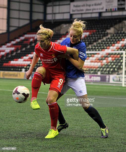Alex Greenwood of Everton Ladies FC and Natasha Dowie of Liverpool Ladies FC battle for the ball during the FA WSL 1 match between Everton Ladies FC...