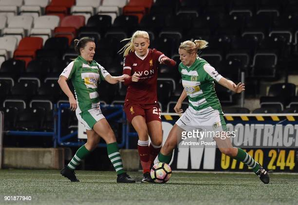 Alex Greenwood of Liverpool Ladies competes with Georgia Evans and Kelly Aldridge of Yeovil Town Ladiesbg during the FA Women's Super League match...