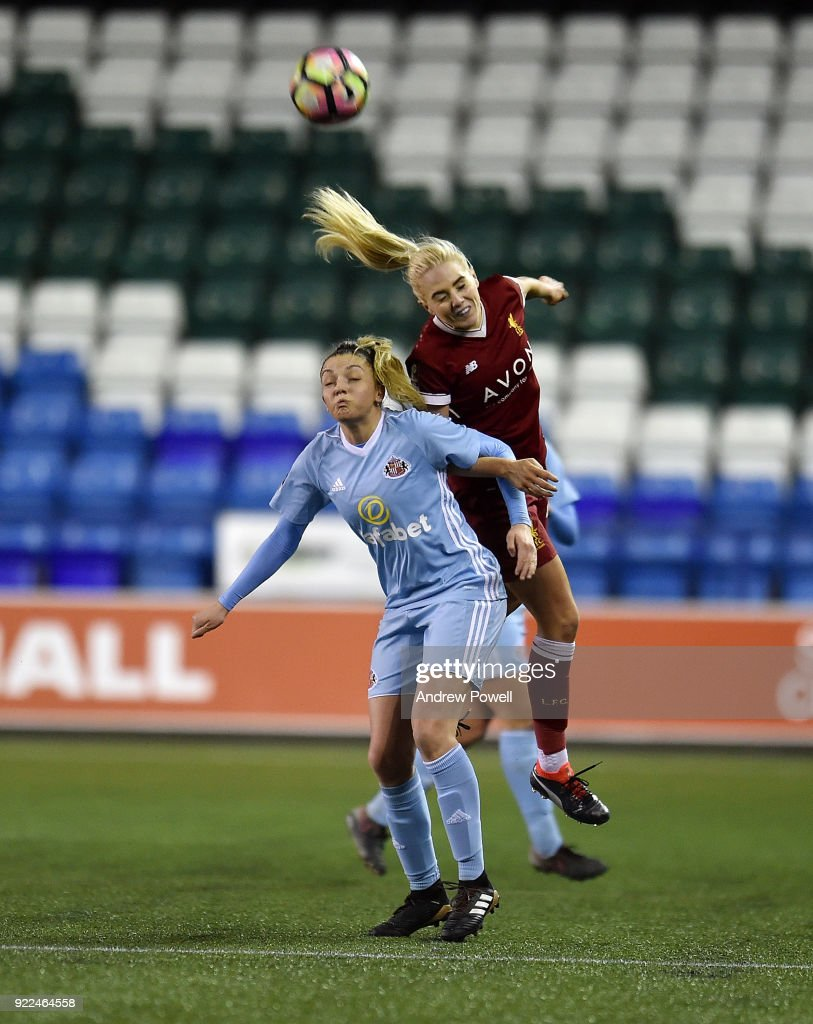 Alex Greenwood of Liverpool Ladies goes up with of Sunderland Ladies during the FA WSL match between Liverpool Ladies and Sunderland Ladies at Select Security Stadium on February 21, 2018 in Widnes, England.