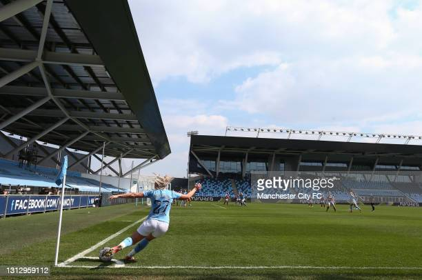 Alex Greenwood of Manchester City takes a corner kick during the Vitality Women's FA Cup Fourth Round match between Manchester City Women and Aston...