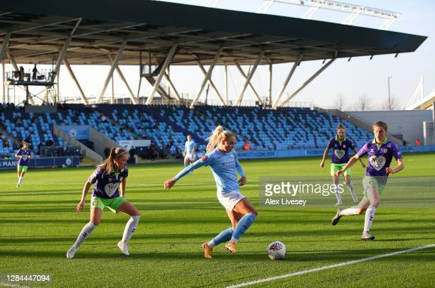 Alex Greenwood of Manchester City Women controls the ball during the Barclays FA Women's Super League match between Manchester City Women and Bristol...