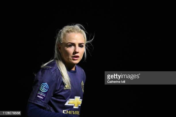 Alex Greenwood of Manchester United during the FA WSL Continental Tyres Cup semi final between Arsenal Women and Manchester United Women at Meadow...