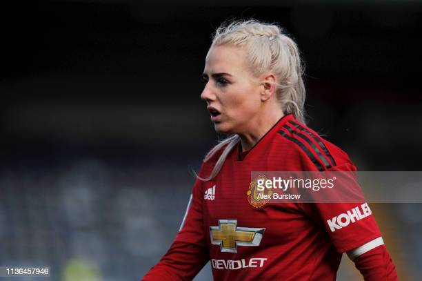 Alex Greenwood of Manchester United looks on during the SSE Women's FA Cup Quarter Final match between Reading Women and Manchester United Women at...