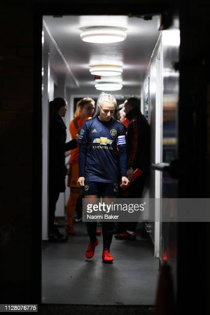 Alex Greenwood of Manchester United waits in the tunnel ahead of the FA WSL Cup match between Arsenal Women and Manchester United Women at Meadow...