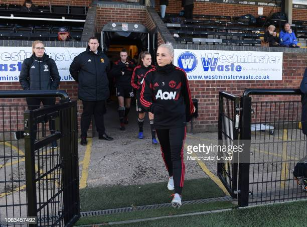 Alex Greenwood of Manchester United women arrives ahead of the FA Women's Championship match between Crystal Palace and Manchester United at Hayes...