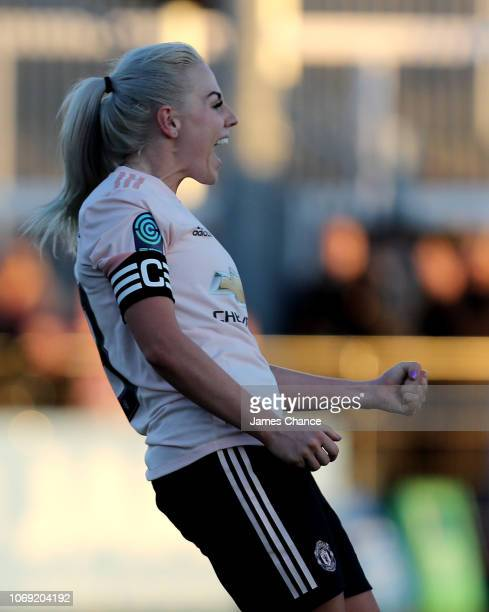 Alex Greenwood of Manchester United Women celebrates after scoring her team's fourth goal during the FA Women's Championship match between Crystal...