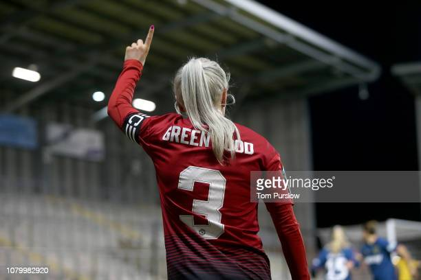 Alex Greenwood of Manchester United Women in action during the FA WSL Cup match between Manchester United Women and West Ham United Women at Leigh...