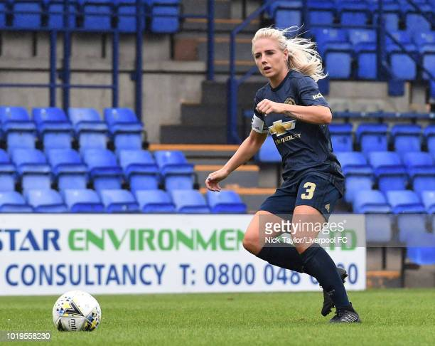 Alex Greenwood of Manchester United Women in action during the Liverpool FC Women v Manchester United Women game at Prenton Park on August 19 2018 in...