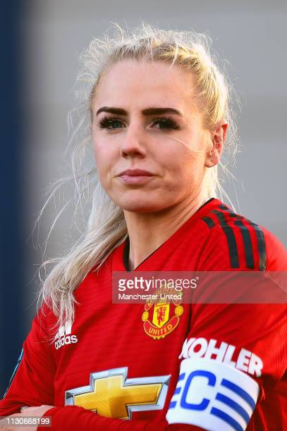 Alex Greenwood of Manchester United Women in action during the SSE Women's FA Cup match between Manchester United Women and London Bees at Ewen...